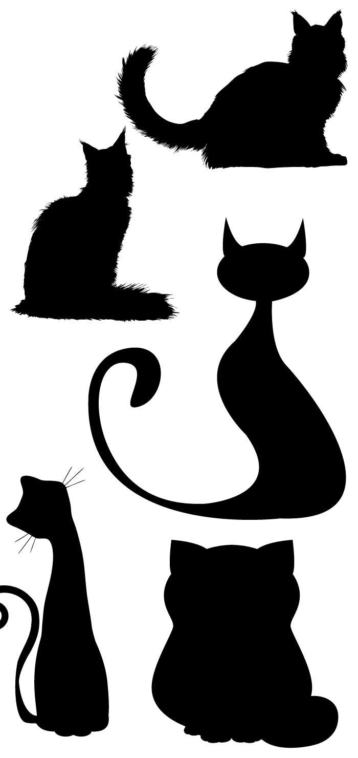 猫の無料シルエット|AI・EPSの無料イラストレーター素材なら
