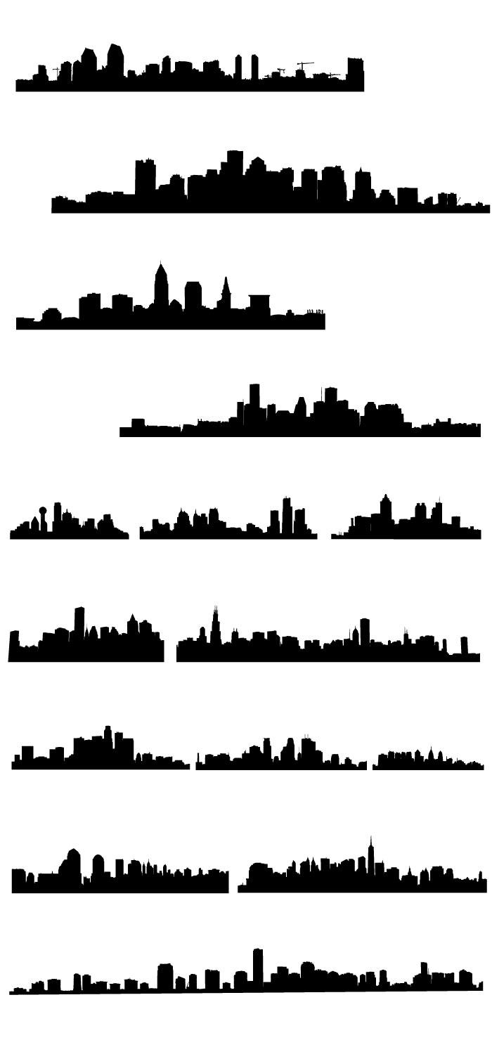 都市街並みの無料シルエットaiepsの無料イラストレーター