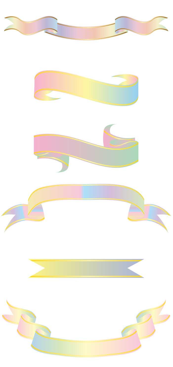 虹色パステルのリボン装飾の無料イラストaiepsの無料